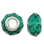 European Kristall Perlen, Rondell, Sterling Silber-Dual-Core ohne troll, smaragdgrün, 14x9mm, Bohrung:ca. 5mm, 20PCs/Tasche, verkauft von Tasche