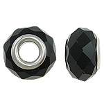 European Kristall Perlen, Rondell, Sterling Silber-Dual-Core ohne troll, Jet schwarz, 14x9mm, Bohrung:ca. 5mm, 20PCs/Tasche, verkauft von Tasche
