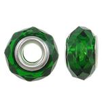 European Kristall Perlen, Rondell, Sterling Silber-Dual-Core ohne troll, grasgrün, 14x8mm, Bohrung:ca. 5mm, 20PCs/Tasche, verkauft von Tasche