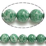 Grüner Tupfen Stein Perlen, grüner Punkt Stein, rund, natürlich, 4mm, Bohrung:ca. 0.8mm, Länge:ca. 15 ZollInch, 10SträngeStrang/Menge, ca. 90PCs/Strang, verkauft von Menge
