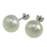 Süßwasserperlen Ohrringe, Natürliche kultivierte Süßwasserperlen, Messing Stecker, oval, weiß, 9-10mm, verkauft von Paar