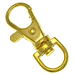 Zinklegierung Karabinerverschluss mit Drehgelenk, goldfarben plattiert, frei von Nickel, Blei & Kadmium, 14x38.50x5.50mm, Bohrung:ca. 6.5x9.2mm, 500PCs/Tasche, verkauft von Tasche