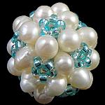 Ball Cluster Zuchtperlen, Natürliche kultivierte Süßwasserperlen, mit Glas-Rocailles, rund, 20mm, 10PCs/Tasche, verkauft von Tasche