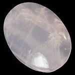 Rosenquarz Cabochon, flachoval, flache Rückseite, 22x30x7-8mm, 10PCs/Tasche, verkauft von Tasche
