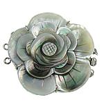 Muschel Schnappschließe, mit Messing, Blume, 3-Strang, 48x53x12mm, Bohrung:ca. 2mm, verkauft von PC