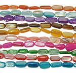 Natürliche farbige Muschelperlen, Muschel, Rechteck, gemischte Farben, 6-14mm, Bohrung:ca. 1mm, Länge:ca. 11.8 ZollInch, 10SträngeStrang/Tasche, verkauft von Tasche