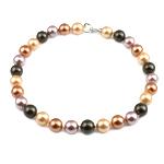 Südsee Muschel Halskette, Messing Haken und Augen Verschluss, rund, farbenfroh, 16mm, verkauft per 18 ZollInch Strang