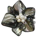 Muschel Schnappschließe, mit kultivierte Süßwasser kernhaltige Perlen & Messing, Blume, 3-Strang, 48x20mm, Bohrung:ca. 1.5mm, verkauft von PC