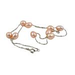 Süßwasserperlen Messing Halskette, Natürliche kultivierte Süßwasserperlen, mit Messing, oval, natürlich, Rosa, 7-8mm, verkauft per 17 ZollInch Strang