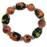 Halloween Armband, Glas, mit Zinklegierung, Pinselführung, 14mm, verkauft per 7.5 ZollInch Strang