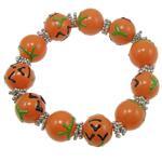 Halloween Armband, Glas, mit Zinklegierung, Pinselführung, orange, 15mm, verkauft per 7.5 ZollInch Strang