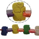 Türkis Perlen, Synthetische Türkis, Elephant, gemischte Farben, 31.50x21.50x5.50mm, Bohrung:ca. 1mm, ca. 23PCs/Strang, verkauft per ca. 15 ZollInch Strang