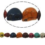 Türkis Perlen, Synthetische Türkis, Schädel, gemischte Farben, 13x12x10mm, Bohrung:ca. 1mm, ca. 30PCs/Strang, verkauft per ca. 15 ZollInch Strang