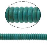 Türkis Perlen, Synthetische Türkis, Rondell, grün, 12x3mm, Bohrung:ca. 1mm, ca. 119PCs/Strang, verkauft per ca. 15 ZollInch Strang