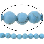 Türkis Perlen, Natürliche Türkis, rund, blau, 6mm, Bohrung:ca. 0.7mm, ca. 70PCs/Strang, verkauft per ca. 16 ZollInch Strang