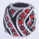 Zink Legierung Europa Perlen, Zinklegierung, Trommel, antik silberfarben plattiert, ohne troll & mit Strass, keine, frei von Nickel, Blei & Kadmium, 10x11mm, Bohrung:ca. 5mm, verkauft von PC