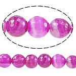 Natürliche Rosa Achat Perlen, rund, facettierte, 10mm, Bohrung:ca. 1.2mm, Länge:ca. 15 ZollInch, 5SträngeStrang/Menge, verkauft von Menge