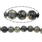 Natürliche Drachen Venen Achat Perlen, Drachenvenen Achat, rund, verschiedene Größen vorhanden, schwarz, Bohrung:ca. 1-1.2mm, Länge:ca. 15.5 ZollInch, verkauft von Menge
