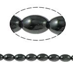 Nicht-magnetische Hämatit Perlen, Non- magnetische Hämatit, oval, schwarz, Grade A, 9x6mm, Bohrung:ca. 1.5mm, Länge:15.5 ZollInch, 10SträngeStrang/Menge, verkauft von Menge