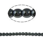 Nicht-magnetische Hämatit Perlen, Non- magnetische Hämatit, rund, schwarz, Grade A, 4mm, Bohrung:ca. 1.5mm, Länge:15.5 ZollInch, 10SträngeStrang/Menge, verkauft von Menge