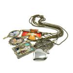 Zinklegierung Schmuck Halskette, mit Leder & Harz & Eisen, Zinklegierung Karabinerverschluss, mit Strass & gemischt, 47-104mm, Länge:20-30.5 ZollInch, 12SträngeStrang/Tasche, verkauft von Tasche