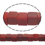 Jade Perlen, rote Jade, Würfel, natürlich, 10x10x10mm, Bohrung:ca. 1.5mm, ca. 38PCs/Strang, verkauft per ca. 15 ZollInch Strang