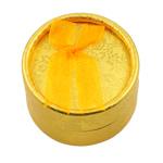 Karton Ringkasten, mit Baumwollsamt, flache Runde, Goldfarbe, 55x35x55mm, 24PCs/Tasche, verkauft von Tasche