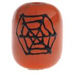 Halloween Schmuck Bead, Glas, Trommel, Pinselführung, orange, 18x14mm, Bohrung:ca. 2mm, verkauft von PC