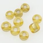 Silbereinzug Glas Rocailles, Glas-Rocailles, rund, gelb, 2x1.90mm, Bohrung:ca. 1mm, verkauft von Tasche