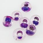 Innen Farben Glas Rocailles, Glas-Rocailles, Rondell, violett, 2x1.90mm, Bohrung:ca. 1mm, verkauft von Tasche