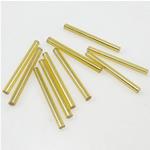 Silbereinzug Glas Rocailles, Glas-Rocailles, Rohr, gelb, 2x21mm, Bohrung:ca. 1mm, verkauft von Tasche