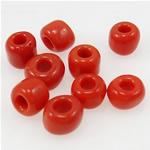 Opake Glas Rocailles, Glas-Rocailles, Rondell, rot, 3x3.60mm, Bohrung:ca. 1mm, verkauft von Tasche