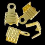 Eisen Endkappe, goldfarben plattiert, frei von Nickel, Blei & Kadmium, 7.50x5x4mm, Bohrung:ca. 1.3mm, ca. 1000PCs/Tasche, verkauft von Tasche