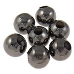 Eisen Schmuckperlen , rund, metallschwarz plattiert, verschiedene Größen vorhanden, frei von Nickel, Blei & Kadmium, Bohrung:ca. 4mm, verkauft von Tasche
