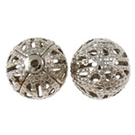 Eisen Schmuckperlen , rund, Platinfarbe platiniert, hohl, frei von Nickel, Blei & Kadmium, 10mm, Bohrung:ca. 1mm, ca. 200PCs/Tasche, verkauft von Tasche
