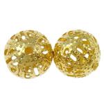 Eisen Schmuckperlen , rund, goldfarben plattiert, verschiedene Größen vorhanden, frei von Nickel, Blei & Kadmium, Bohrung:ca. 1mm, verkauft von Tasche