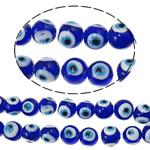 Böser Blick Lampwork Perlen, blöser Blick, handgemacht, blau, 12mm, Bohrung:ca. 2mm, 100PCs/Tasche, verkauft von Tasche
