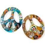Millefiori Scheibe Glas Anhänger, Lampwork, oval, Goldsand, gemischte Farben, 42x48x6mm, Bohrung:ca. 3mm, 12PCs/Box, verkauft von Box