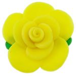 Polymer Ton Perlen , Blume, gelb, 51x18mm, Bohrung:ca. 2mm, 100PCs/Tasche, verkauft von Tasche