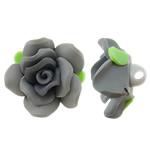 Polymer Ton Perlen , Blume, grau, 30x21mm, Bohrung:ca. 4mm, 100PCs/Tasche, verkauft von Tasche