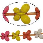Türkis Perlen, Synthetische Türkis, Schmetterling, gemischte Farben, 25x20.50x6.50mm, Bohrung:ca. 1.5mm, ca. 16PCs/Strang, verkauft per ca. 15 ZollInch Strang