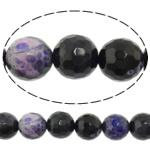Natürliche Feuerachat Perlen, Freuer Knistern Achat, rund, facettierte & zweifarbig, 8mm, Bohrung:ca. 1mm, ca. 48PCs/Strang, verkauft per ca. 15 ZollInch Strang