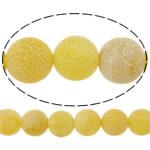 Natürliche Effloresce Achat Perlen, Auswitterung Achat, rund, verschiedene Größen vorhanden, gelb, Bohrung:ca. 1-1.2mm, verkauft per ca. 15 ZollInch Strang