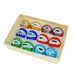 Lampwork Fingerring, gemischte Farben, 27x27x23mm, Bohrung:ca. 18mm, Größe:8, 12PCs/Box, verkauft von Box