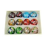 Lampwork Fingerring, Goldsand und Silberfolie, gemischte Farben, 27x27x24mm, Bohrung:ca. 17mm, Größe:7, 12PCs/Box, verkauft von Box