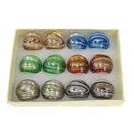 Lampwork Fingerring, Goldsand und Silberfolie, gemischte Farben, 29x28x23mm, Bohrung:ca. 18mm, Größe:8, 12PCs/Box, verkauft von Box