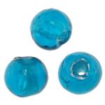 Silberfolie Lampwork Perlen, rund, tiefblau, 8mm, Bohrung:ca. 1mm, 100PCs/Tasche, verkauft von Tasche