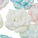 Polymer Ton Perlen , Blume, gemischte Farben, 20x10-21x12mm, Bohrung:ca. 1-2mm, 100PCs/Tasche, verkauft von Tasche
