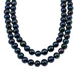 Natürliche Süßwasserperlen Halskette, Natürliche kultivierte Süßwasserperlen, rund, schwarz, 9-10mm, verkauft per 44.5 ZollInch Strang