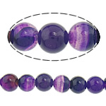 Natürliche violette Achat Perlen, Violetter Achat, rund, Streifen, 8mm, Bohrung:ca. 0.8-1mm, 10SträngeStrang/Menge, verkauft von Menge